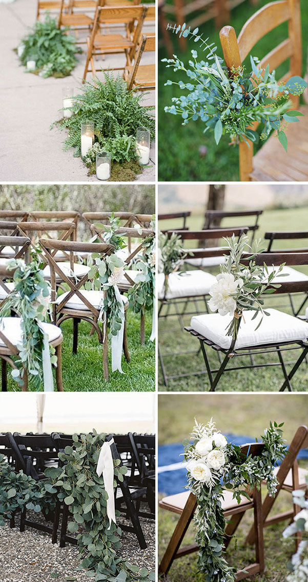 Wedding Ceremony Chair Decorations with Greenery romantic and elegant wedding with gorgeous green plants
