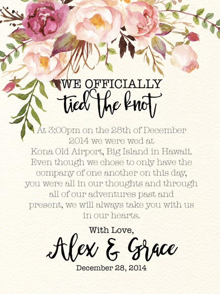 Wedding Announcement Wording Ideas That You'll Need