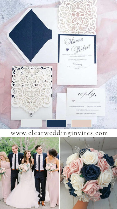 White wedding invites with modern navy shimmer liner CWIL20