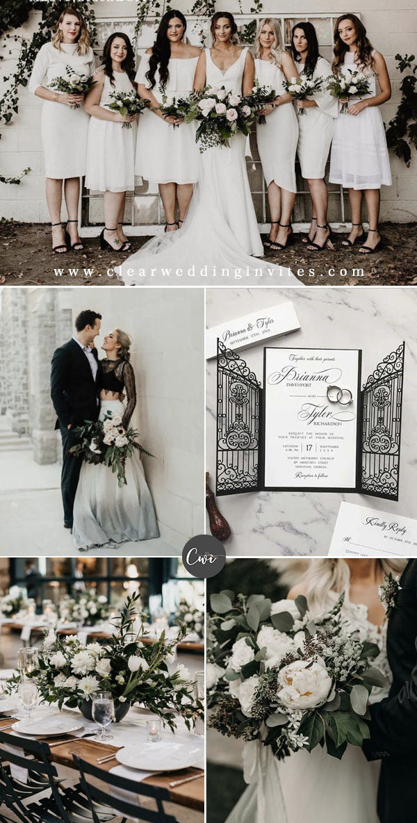White,Black&Light Green Wedding Color Combos for Late Winter and Early Spring