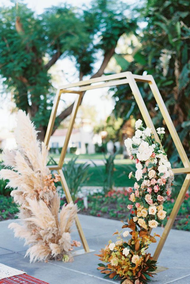 Geometric details in a wedding arch are perfectindustrial chicsoirée or weddings