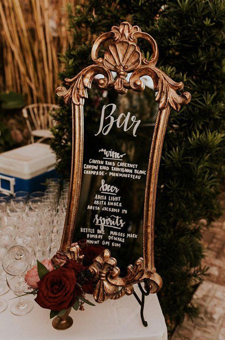 antique mirrors as wedding welcome sign