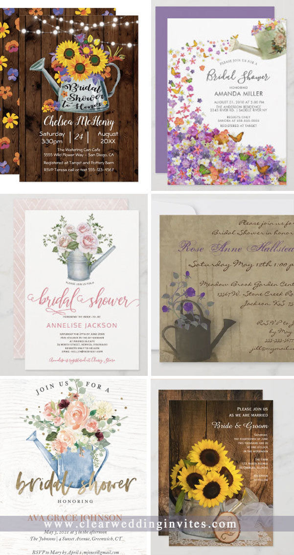 awesome and swoon-some  watering can wedding invitations