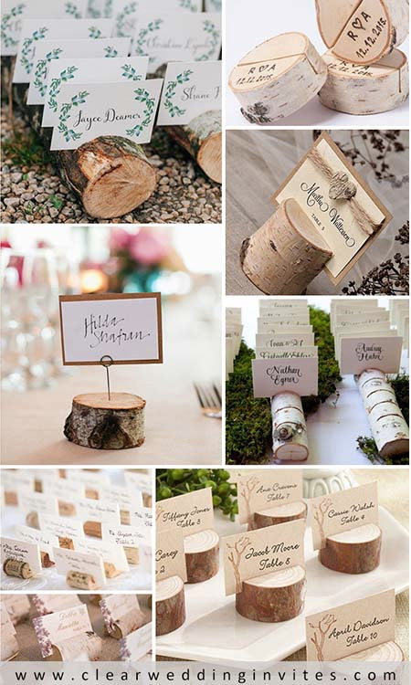 birch tree place card holders are made to look like they were taken from real birch trees