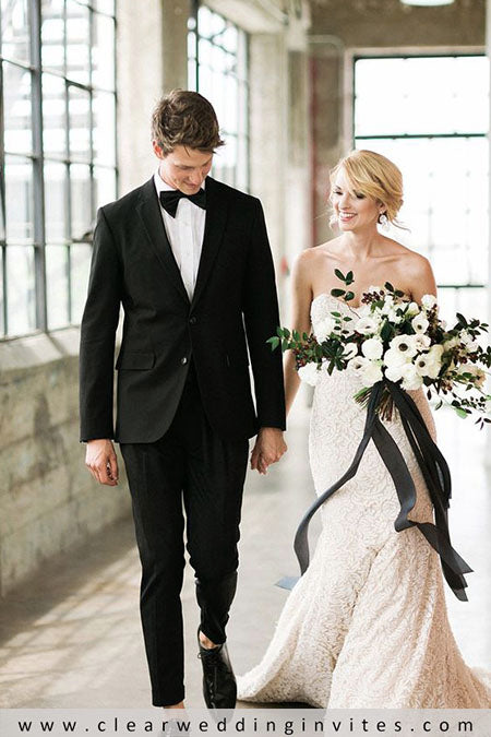 black and white wedding bride and groom photography