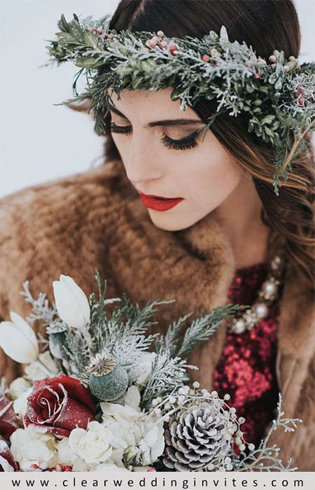bridesmaids carry bouquets made of pinecones, pine or Douglas fir boughs, berries, peonies and other buds-1