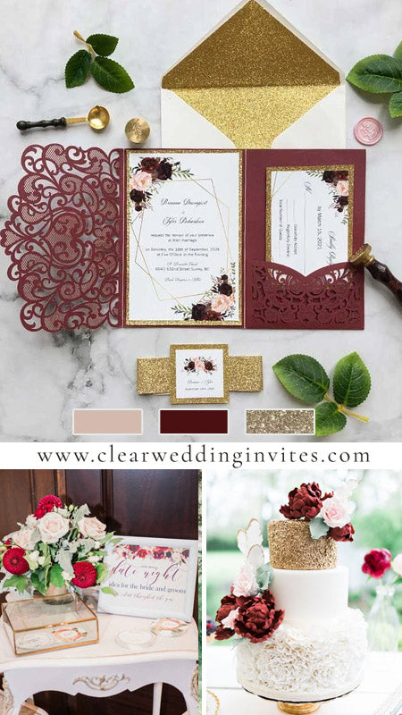 burgundy laser cut pocket fold and burgundy floral wedding invitations with glittery belly band CWIL07
