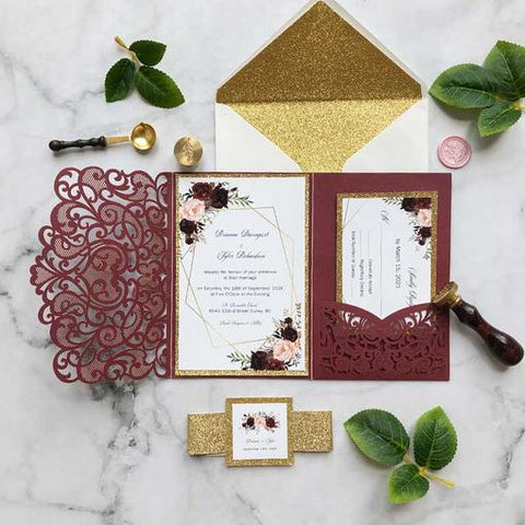 Burgundy Boho Rustic Wedding Ideas and Matching Invitations for Your Big day