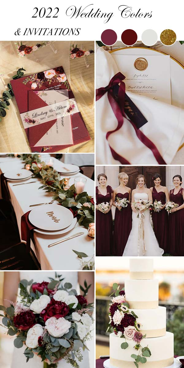 burgundy wine red ivory gold wedding color trends in 2021 2022