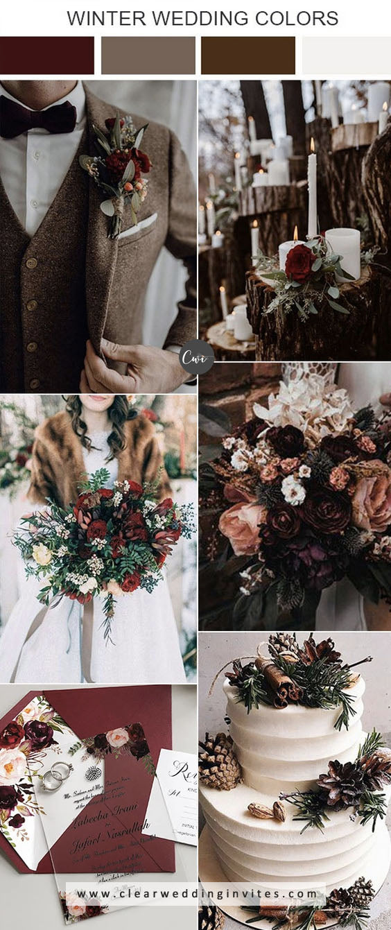 Chocolate Brown and Dark Red Romantic Winter Wedding Color Combs for 2021