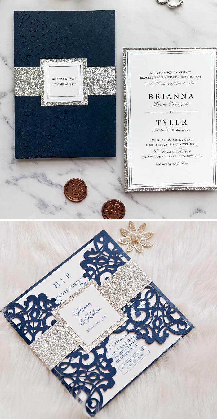 Navy blue, silver and white  make up a sophisticated winter color scheme for a classic winter wedding theme.