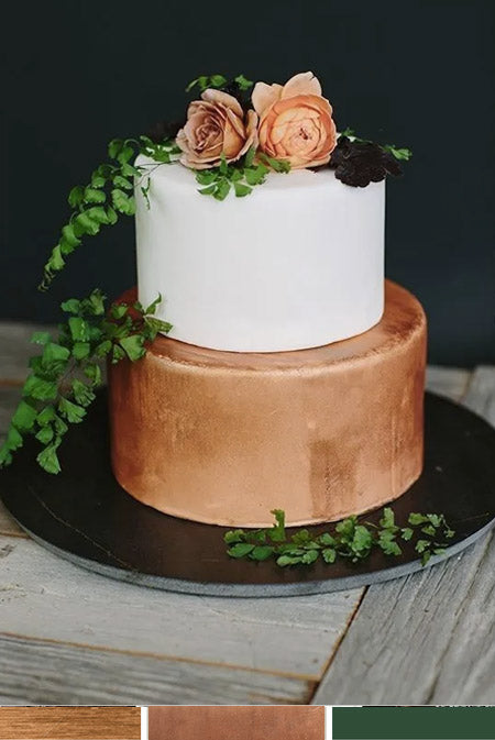 Metallic Copper and Greenery Wedding Cake Ideas You Deserve to Try