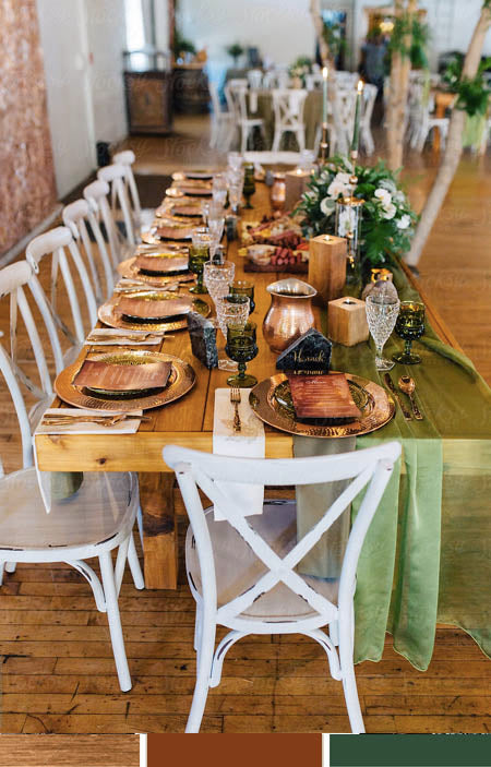 Metallic Copper and Greenery Wedding Reception Table Ideas You Deserve to Try