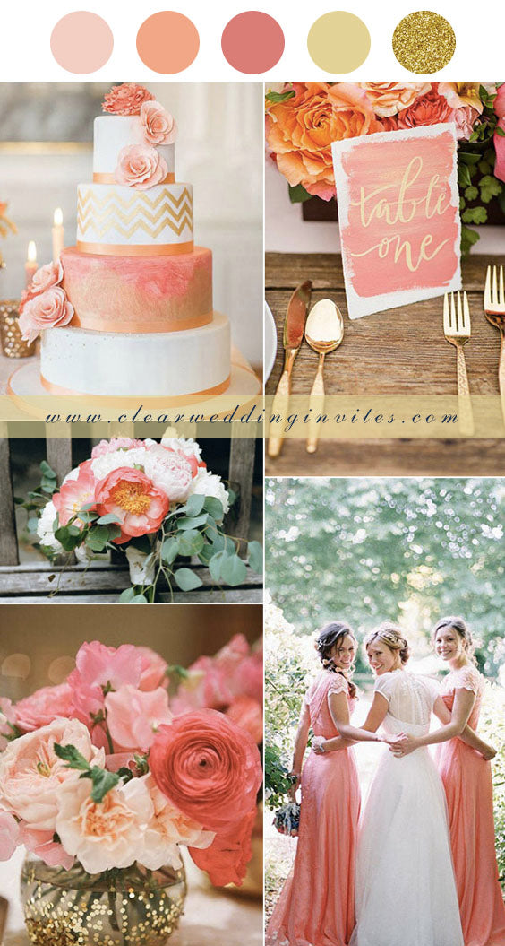 Coral, gold and Peach summer wedding palette