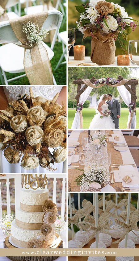 decorated with chairs, wedding arches and wedding centerpieces, burlap and lace do a great job as well