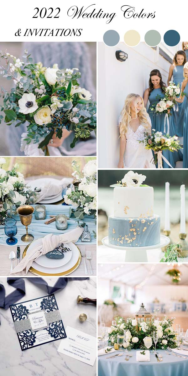 dusty blue wedding colors and matching invitations