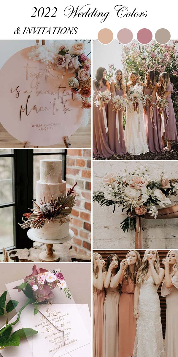 dusty pink wedding color palette and matching invitations