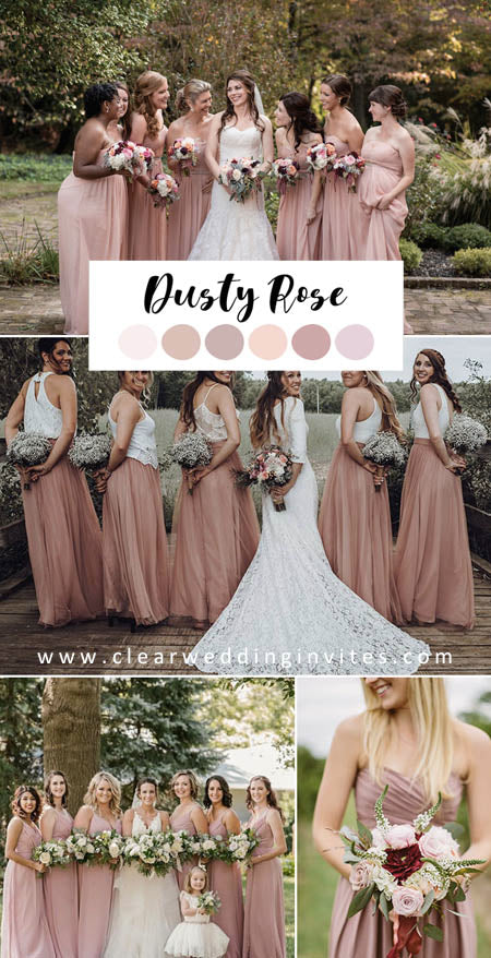Gorgeous Dusty Rose Wedding Color Ideas and Wedding Bridesmaid Dresses