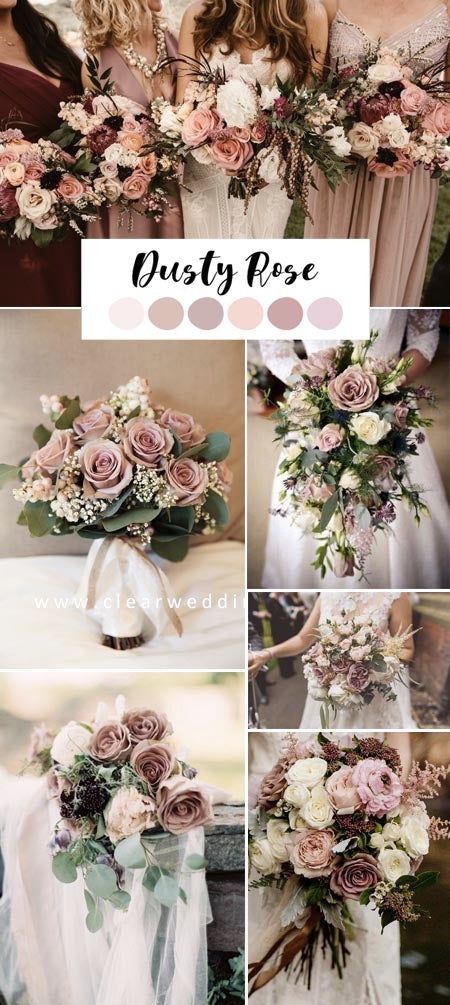 Gorgeous Dusty Rose Wedding Color Ideas and Wedding Bouquets