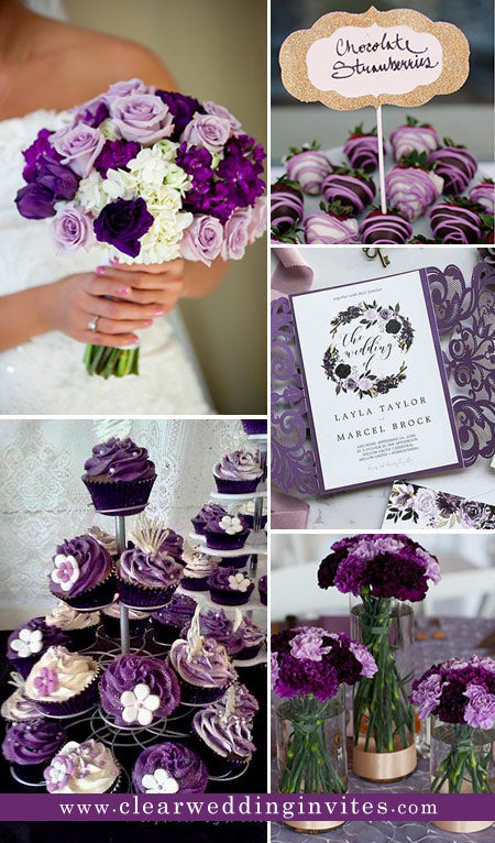 6 Whimsical Purple Wedding Ideas and Invitations for Fall Brides