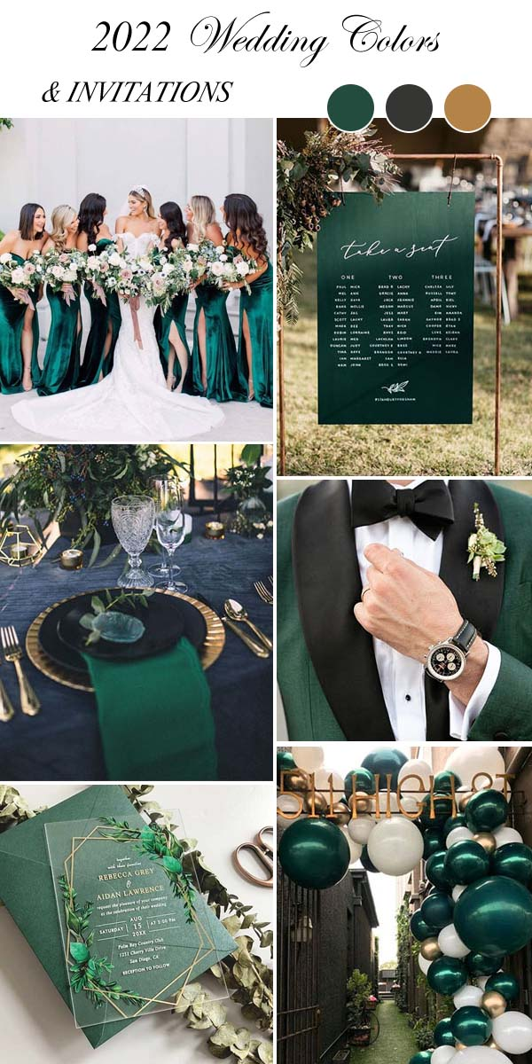 emerald green wedding colors and acrylic invites