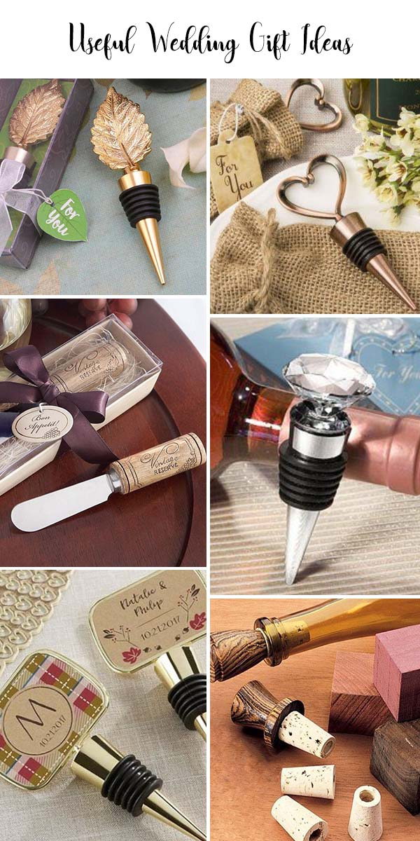 wine stopper as a wedding gift to bride and groom