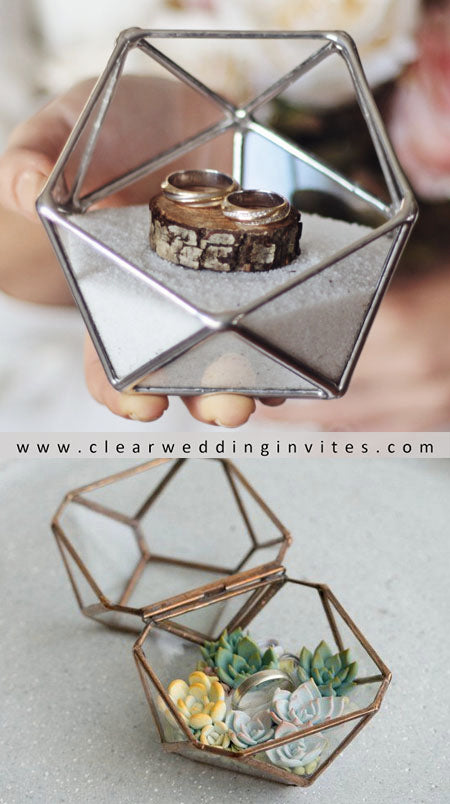 geometric Glass ring box with succulents inside