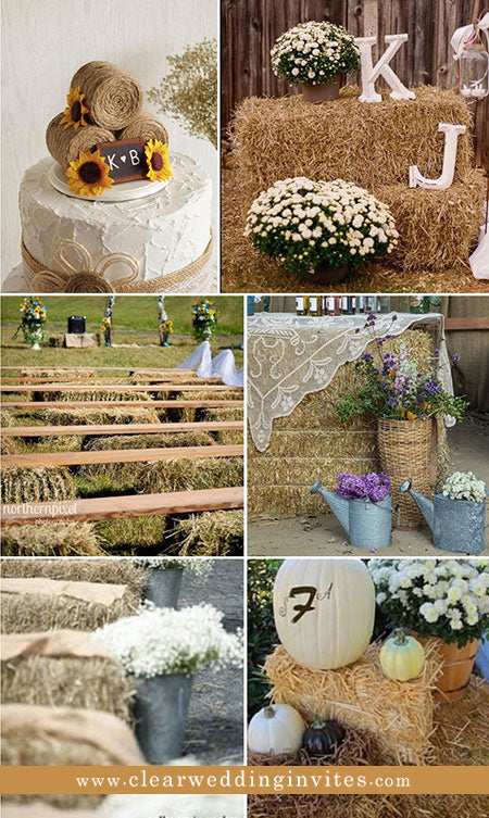outdoor wedding decoration ideas is using hay bale as casual seating plan