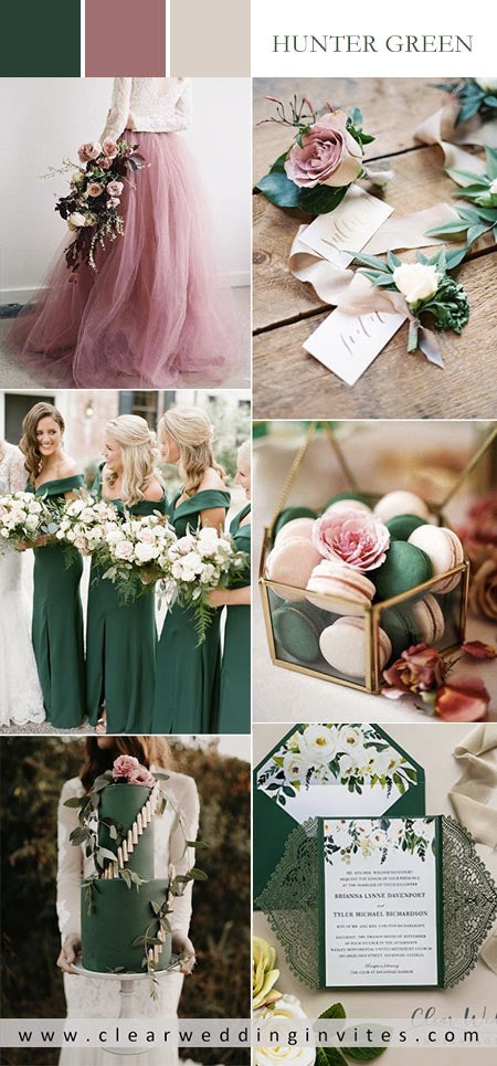 hunter green and dusty rose pink wedding color ideas