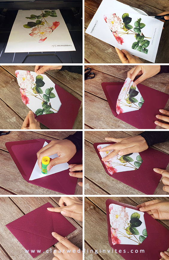 How to assemble envelope inserts and liners for wedding invitations