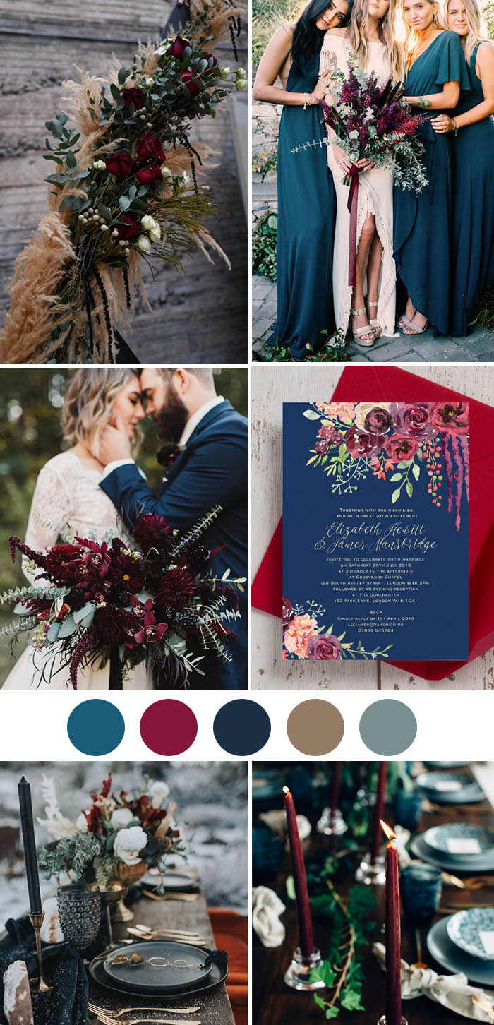 5. jewel tone boho inspired forest fall wedding colors
