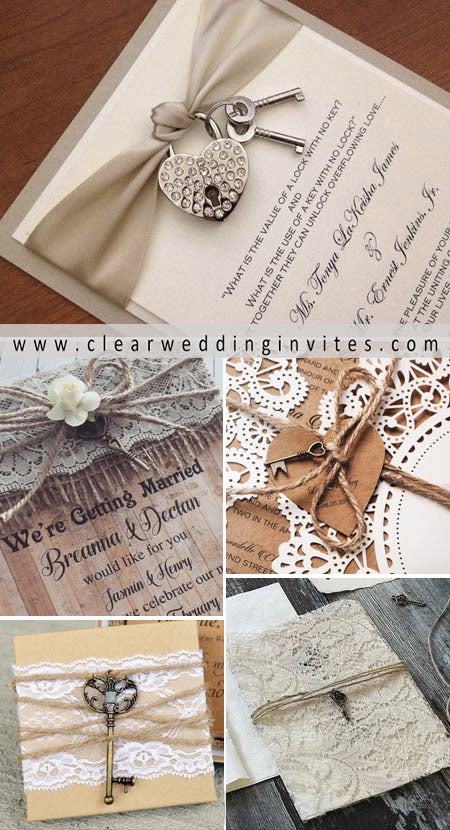 lock and key wedding invitation gives guests a hint to your key-themed day