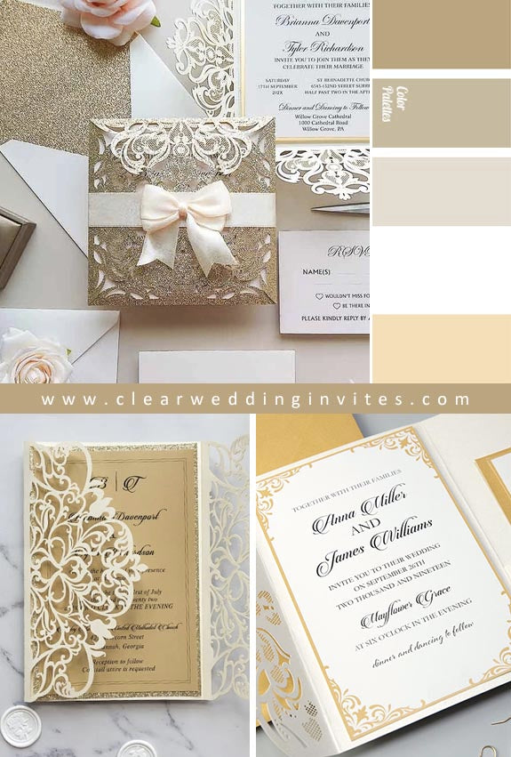 modern ivory shimmer and gold Wedding Invitations