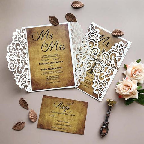 mr and mrs rustic laser cut wedding invitations with twines and key CWIL42