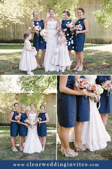 Pink and navy color bridesmaids