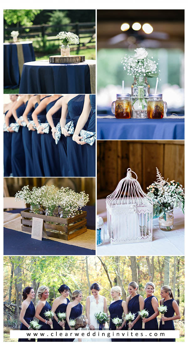 navy burgundy and greenery fall wedding colors