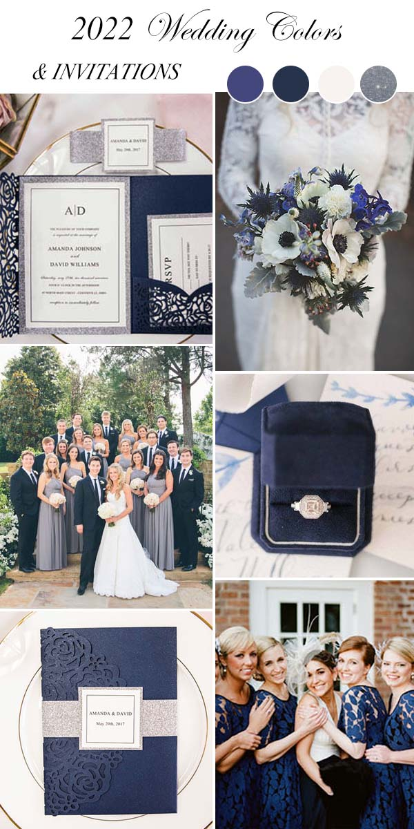navy blue wedding color schemes with wedding invitations