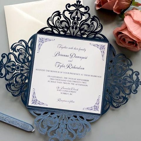 Elegant Navy Blue and White Wedding Color Ideas with Matched Wedding Invitations