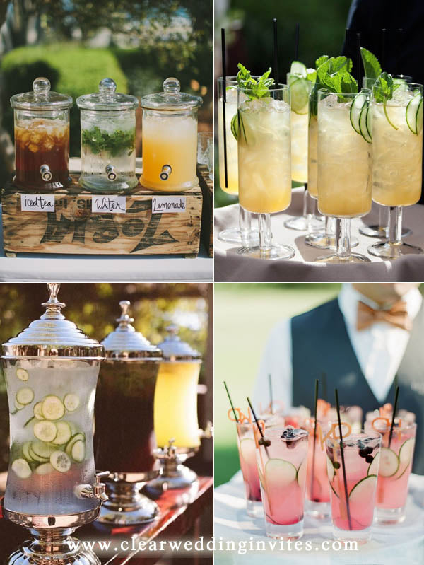 offering your guests with some refresh water on hand and add some citrus or cucumber for a bit of flavor and also, color matches your big day