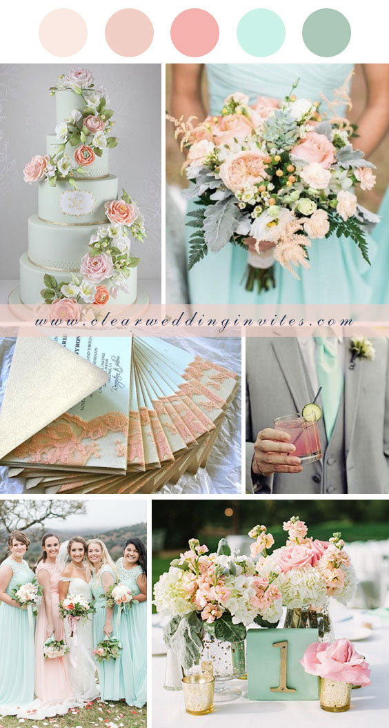 peach and mint wedding color summer and spring wedding invitations