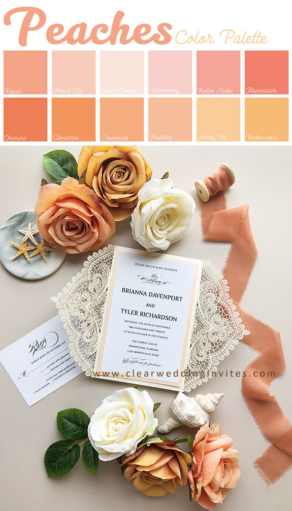 Coral and peach color invitations is great colors for spring wedding in 2022