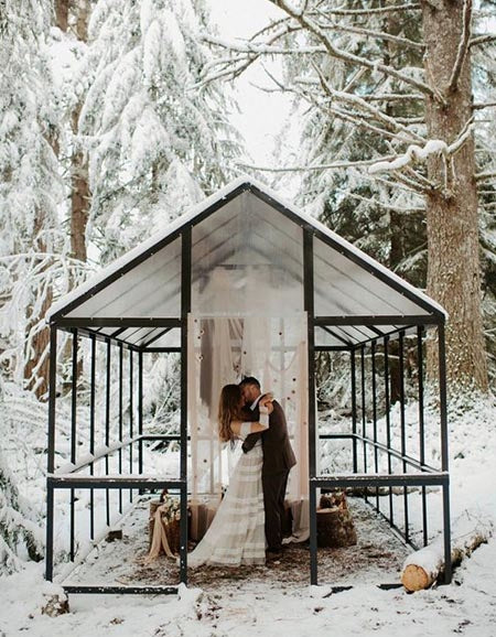 picking a nearby ski lodge to host wedding ceremony and reception