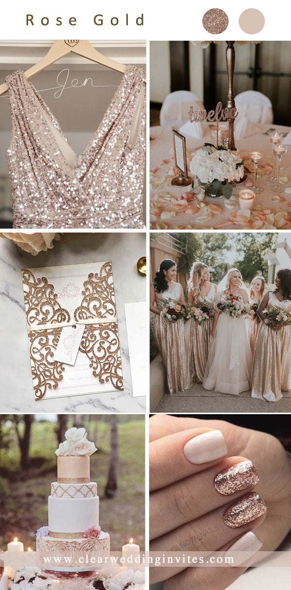 rose gold pink spring outdoor modern glam Wedding Color Ideas for 2022