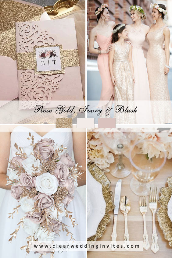 Rose gold, ivory and blush Great Wedding Color Palettes For Spring & Summer 2022