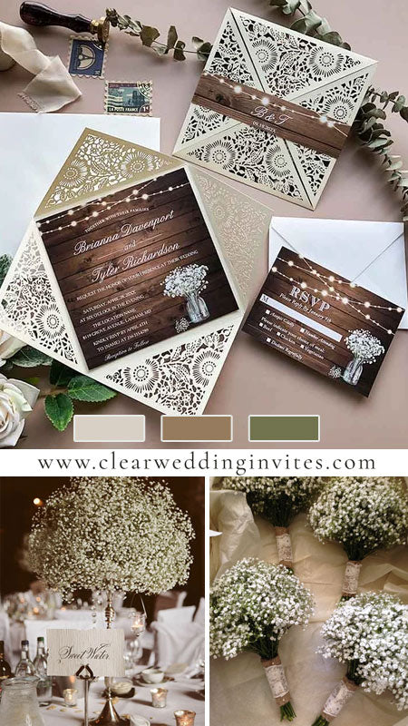 rustic baby's breath in mason jar and string lights wooden wedding invites CWIL33