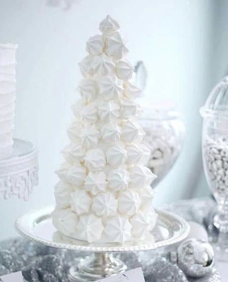 snowball tiered winter whimsical wedding cake