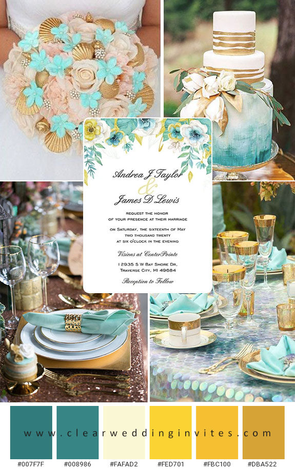 Yellow and Teal Wedding Color Ideas