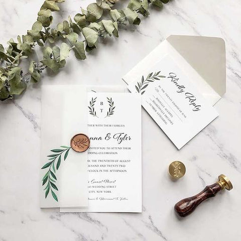 trending greenery olive branch wedding invitation with matching vellum jacket CWIV01