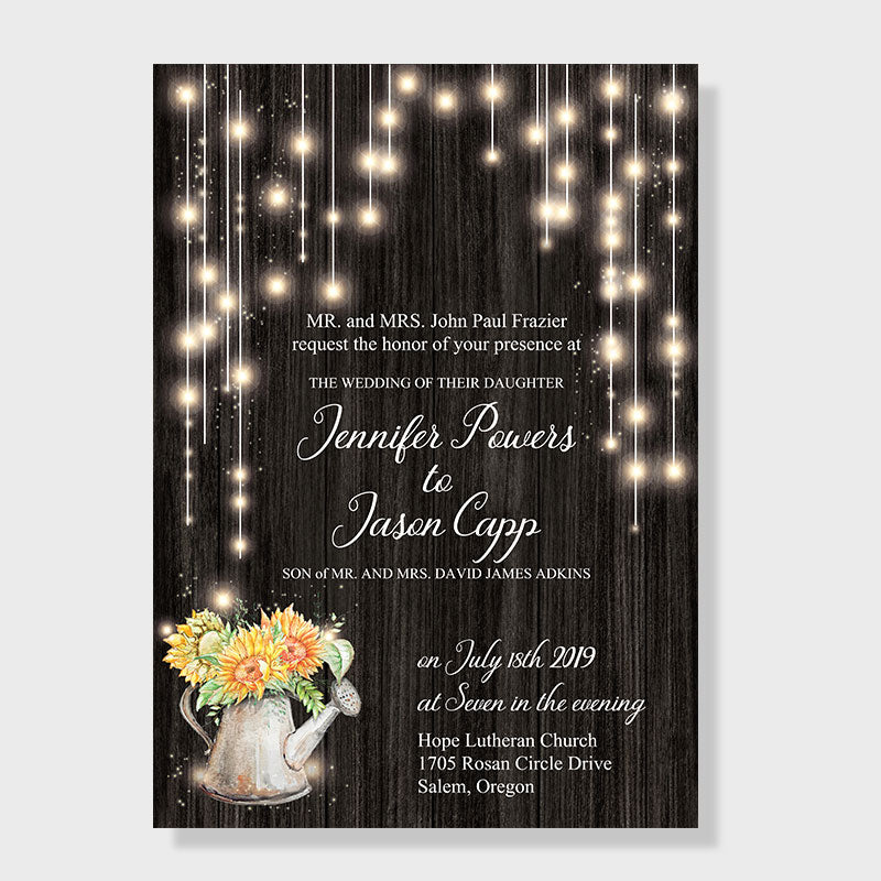 Here are several  awesome and swoon-some  watering can wedding invites
