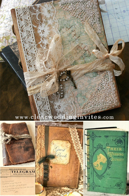 wedding guest books with Antique lace and key chain details